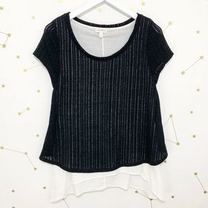 Anthro • Black Sweater Knit Layered Faria Top S